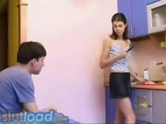Young couple fucking in the kitchen clip