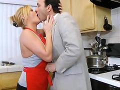 Hardcore milf in kitchen blowjob