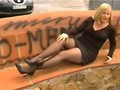 Outdoors Pantyhose Strap On Vibrator