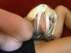 Wife fucks a tranny,  husband eats messy creampie