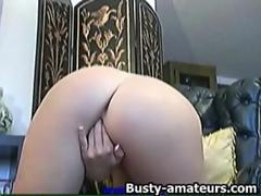 Lisa loves toying her shave pussy
