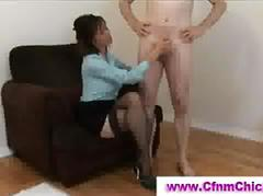 British cfnm brunette gives handjob