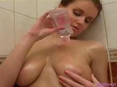 Big breasts babe dildoing hard