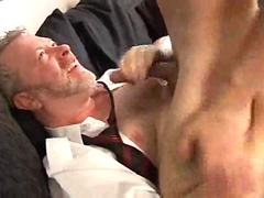 Raunchy old man fucks with his lovely younger boyfriend