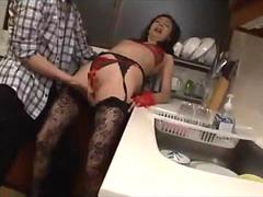Skinny Mature Woman In Lingerie FingeredIn The Kitchen