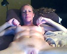 horny blonde MILF home alone masturbates on webcam