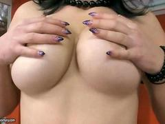 Hot natural busty girl toying her pussy