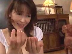 Milf Giving Blowjob For Young Guy Cum To Mouth Spitting Semen To Palm On The Carpet In The Sitting Room