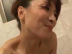 Milf Sitting On Young Guy Face Hairy Pussy Licked While Giving Handjob Cum To Mouth In The Bathroom