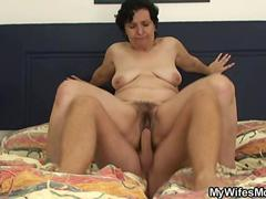 Mother jumps on his BF cock