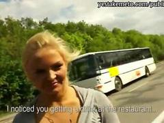 Blonde hottie convinced to flash tits and public anal sex