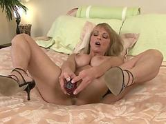 Sexy shayla laveaux gets interviewed while gently stroking her mature pussy with the rabbit toy video
