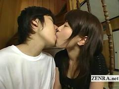 Shy Japanese fresh first kiss and handjob subtitled