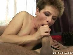 Granny gets fucked until she squirts her juices