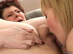 Teen loves a fat grandma and licks her pussy hard