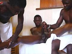 Gay African ThreeWay Orgy With Blowjob Handjob And Massage