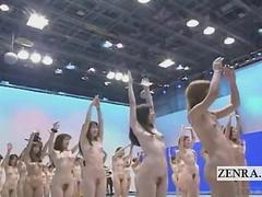 Subtitled big nudist group of Japanese women stretching