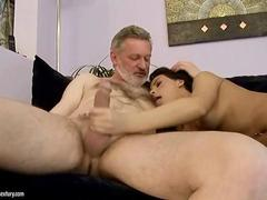 Amabella enjoying sex with the old guy in the tub