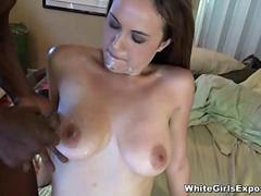 White Chick Gets A Facial From A Black Cock