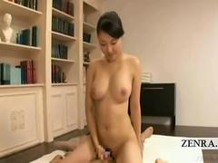 Subtitled Japanese massage striptease and sensual rubbing