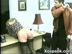 Blonde secretary gets a Cruel Spanking from her boss