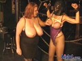 BBW lesbo mistress plays with her slaves big tits