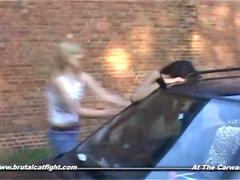 Catfight and hardcore fuck of two girls at the carwash
