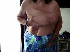 Granny swinging big tits