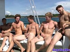 Group of athletic studs giving head on a boat