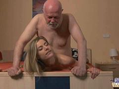 Old business man seduced by a young pussy secretary