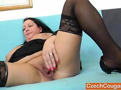 Horny housewife pleasing with her wet fat vagina