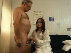 Young lady doctor suck an old man cock