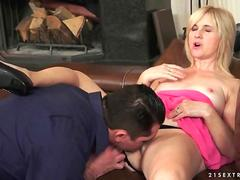 Hot blonde granny gets fucked on the couch