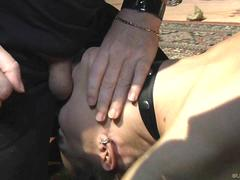 Punishment and body spanking for a tied up slave girl in bondage