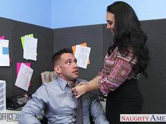 Chesty brunette Holly West ride cock in the office