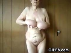 Granny Showing Off Her Saggy Breasts