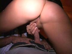 Masked leggy MILF Licks cum off cock fucked hard at orgy