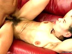 Hairy granny getting fucked by young man
