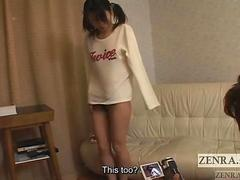 Uncensored Japanese teen strips for blowjob Subtitled
