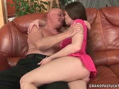 the old guy gets to slam the brunette slut