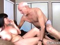 Old Casanova sucked off by a big tits raven