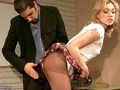 Gorgeous schoolgirl getting punished and fucked