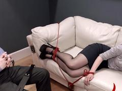 Pale brunette gets tied to the bed and fucked hard