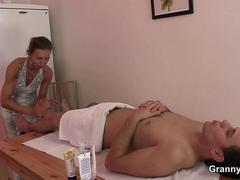 70 years old masseuse takes it from behind