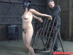 Restrained sub punished with electrosex