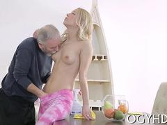 Old hairy guys treats his cock to a perfect little blonde