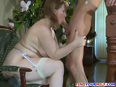 Fat wife catch young neighbor after shower