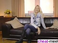 Shaved stunner in leather boots screwed on the floor