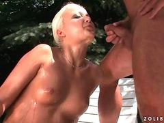 Grandpa fucking and pissing on sexy blonde outdoor