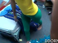 Hairy college girls gets fucked in a dorm room orgy